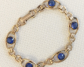 Art Deco Bracelet Signed Sturdy, Vintage Jewelry, Signed Art Deco Jewelry, 1930s Rhinestone Jewelry, Blue Gold Filled Rhinestone Bracelet