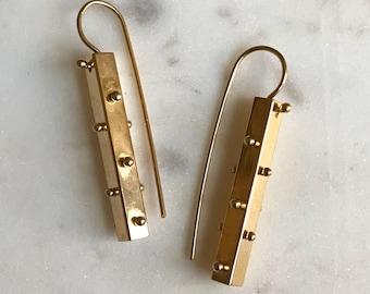 14k gold plated spine earrings