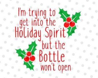 HOLIDAY Spirit BOTTLE- Quality Vinyl Decal, Christmas, Yeti Decal, Decorate your favorite glass! Festive Gift! Fast Shipping!!!
