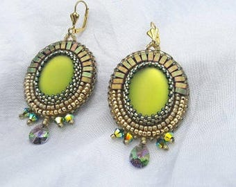 Lime bead embroidery earrings, Lunasoft bead embroidered earrings, big earrings, gift for her, beadwork, women's jewellery