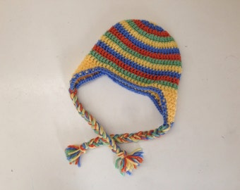 Crochet 9-12 month hat, 9-12 month photo prop, striped baby hat, striped hat, orange, yellow, green, blue hat, 9-12 month earflap hat