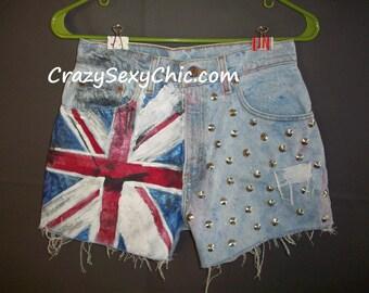 Hand-Painted Flag Shorts Womens size 26 waist UK Union Jack British High Waist Studded