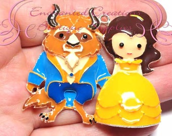 """2x2"""" Belle and Beast Inspired Charm, Yellow Ball Gown, Chunky Pendant, Keychain, Bookmark, Zipper Pull, Chunky Jewelry, Purse Charm"""