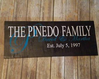 Handmade Family Established wood sign