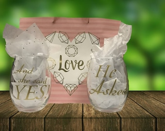 He asked, She said yes Stemless wine glass set