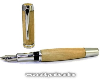Wooden Pen. Handmade Fountain Pen Made in English Sycamore wood. Ideal gift for Birthday, Graduation, Retirement, Groomsmen etc.