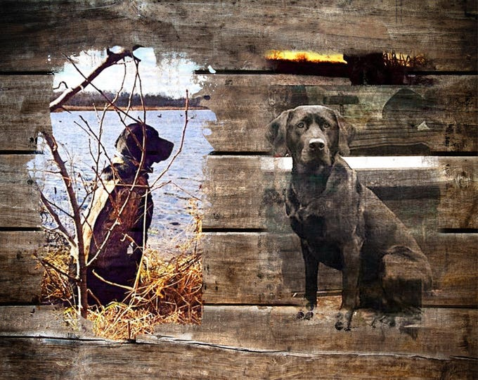 REAL WOOD print Custom Hunter Outdoorsman Gift Pet Dog Cat Kitten Horse from Your Photograph 16x20