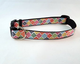 SALE Dog Collar - Adjustable - Colorful Medallions