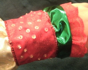 Red, White  and Green Ribbon, Lace, Hand Sewn Sequin and Beaded Holiday Cuff Bracelet