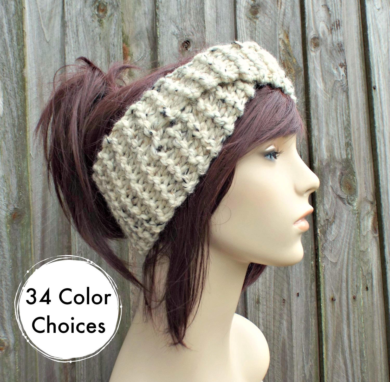 Twisted Turban Knitted Headband in Oatmeal - Oatmeal Headband ...