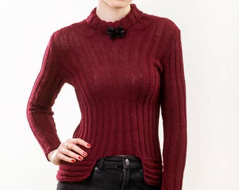 Cropped sweater, Knit alpaca wool, Pullover with bow, Turtleneck sweater, Burgundy women sweater, Short knitted pullover, Cozy knitwear,