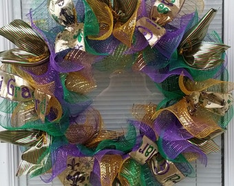Mardi Gras Wreath, Deco Mesh Wreath, Mesh Wreath, Ribbon Wreath, Celebration Wreath, Handmade Wreath,