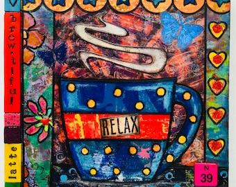 Mixed Media Mono Print Art Collage/Coffee Art/ Free Shipping