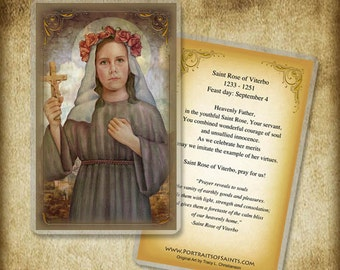 St. Rose of Viterbo Holy Card or Wood Magnet  #0288