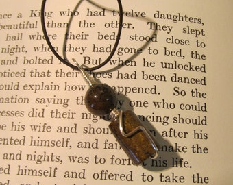 Item 7152 Bronzite Stone Pendent on Brown Leather Cord