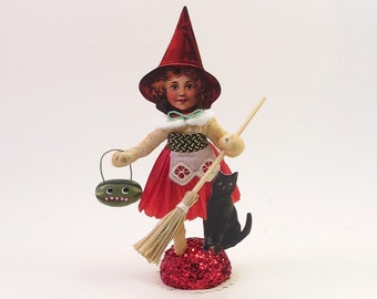 Spun Cotton Vintage Style Halloween Red Witch Figure (MADE TO ORDER)