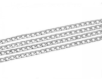 2 m 11x8mm matte silver curb chain
