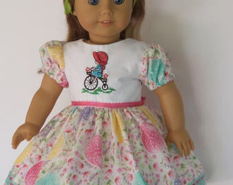 Embroidered Easter Sunday  Dress  /   18 Inch Doll Clothes / Fits Melody ,Samantha or Others 18''Doll