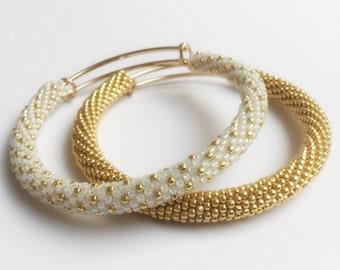 Bead crochet cuff bracelet-Gold-hard tubular & white gold beaded bracelets Beaded bangles-DIVINE Bracelet-pair