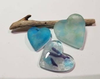 Fused Glass Hearts SEA MIST Two Sisters Designs 021718A