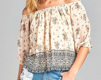 Floral off the shoulder woven top