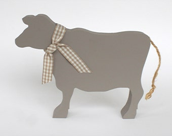 Dun Wooden Cow Ornament, Fawn Cow, Jersey Cow, Wooden Cow Silhouette, Cow Lovers Gift, Farmers Gift