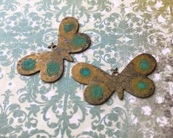 Green BUTTERFLY CHARMS, Patina Metal, Earring Pairs, patina, earring charms, earring dangles, dangles, earrings, earring components