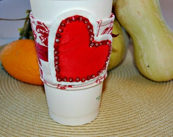 Red Heart Coffee Cozy, Home Living, Decor Housewares, Covers Cozies, Food Drink, Coffee Tea, Coffee Cup Cozy, Coffee Cup Sleeve