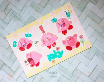 Cute Dessert Kirby I Holographic Sticker sheet