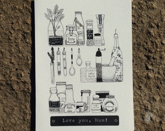 Instant Download | Printable Greeting Card | Mum's Kitchen | Love you, Mum!