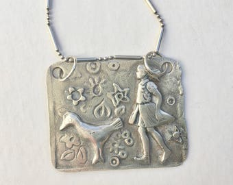 new sterling panel pendant necklace
