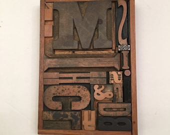 Antique Wood Type made into Art in 1970 in wood frame