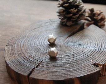 Geometric Sterling Silver Stud earrings, Handmade Faceted Nugget Post Earrings, Geometry, Solid Silver faceted Jewelry, Everyday Earrings