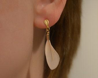 Mini ivory feather earrings