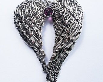 Angel Wings pendant with birthstone.  Silver necklace.  Free shipping to US