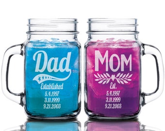 Dad Mom Combo Set of 2 Custom Mason Jar with Established Date Daddy Papa Gifts Mommy Mama Parents Mugs Mothers Day Fathers Day Present Idea