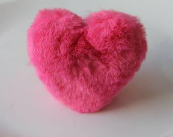 1 Pompom fur plush - 10 cm - jewelry bag - home - pink heart keychain