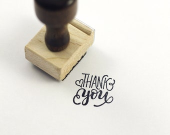 Thank you - Hand Lettered stamp -  1x1 stamp