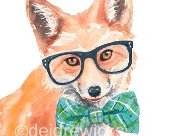 Red Fox PRINT - Watercolor Painting, Nerd Fox, Nursery Art, Funny Watercolour