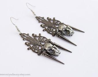 Ready to Ship Miyu Decay Noir Filigree Spike Earrings