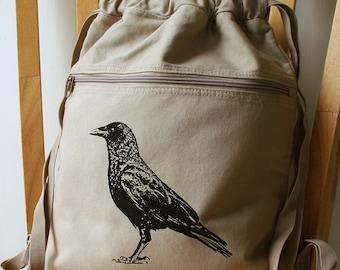 Crow Canvas Screen Printed Backpack Gym Bag Laptop Bag