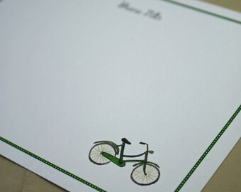 Bike Bicycle Custom Notecard for Thank You or Any Occasion, Personalize Watercolor Print, Set of 10, Vintage Style, Old Fashioned Bicycle