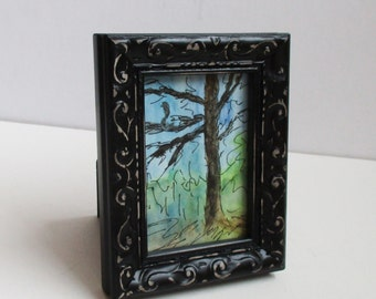 Miniature Tree Painting Watercolor Lone Tree Framed ACEO Original Artist Trading Card Pen Ink Drawing Western Avenue Artist Kathleen Daughan