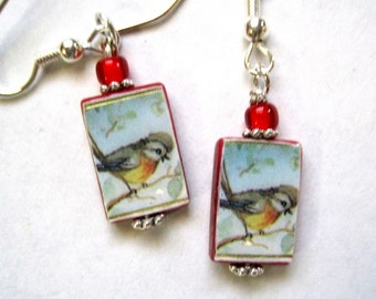 Red-breasted Robin. Petite Mother of Pearl Shell Earrings. Handmade.