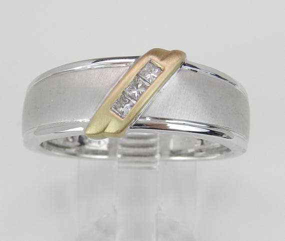 Mens Princess Cut Diamond Wedding Ring Gold Anniversary Band Size 10.25