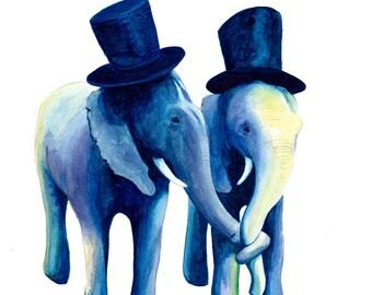 Elephant Love art print - watercolour painting - top hats - wedding - birthday