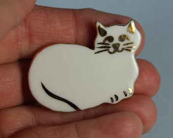 White Cat Brooch Handmade Porcelain Ceramic Jewelry