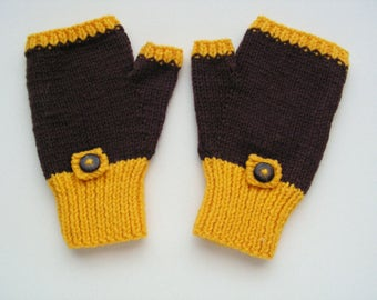 Brown and Yellow Wool Mitts Small Adult Size Fingerless Gloves Mobile Phone Mitts Ready to Ship