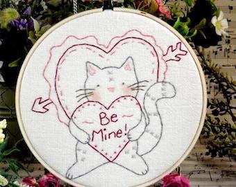 Valentine Be Mine PDF Cat embroidery Pattern - tabby heart primitive stitchery kitten arrow kitty