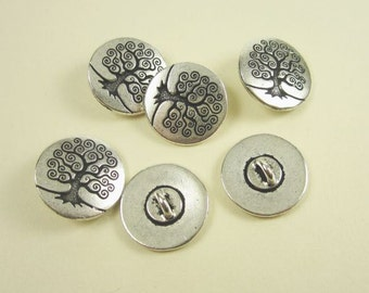 6 Tierracast Silver Tree of Life Buttons